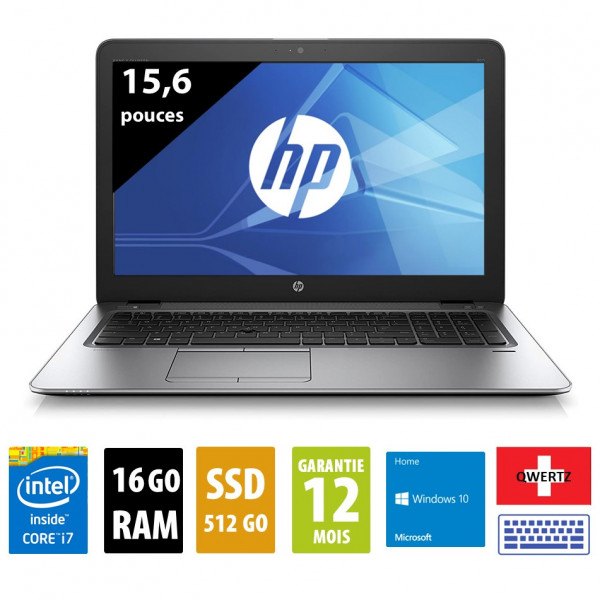 HP Elitebook 850 G3 - Clavier Suisse - 15,6 pouces - Core i7-6500U@2.50GHz - 16Go RAM - 512Go SSD - WXGA (1366x768) - Windows 10 Home