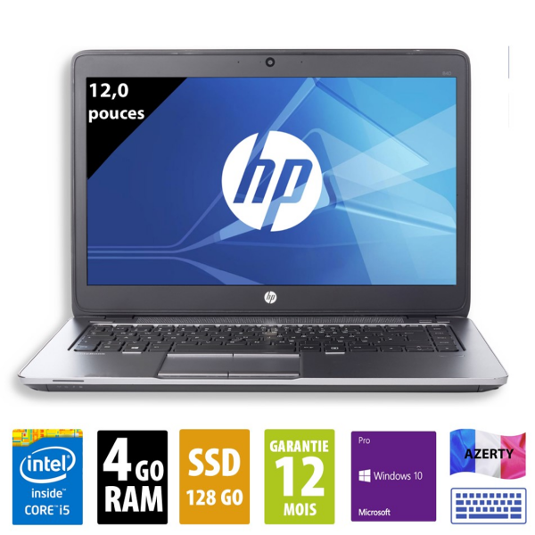 HP Elitebook 820 G1 - 12 pouces - Core i5-4300U@1,90GHz - 4Go RAM - 128Go SSD - WXGA (1366x768) - Windows 10 Pro
