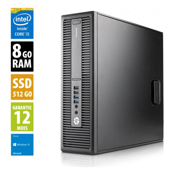 HP EliteDesk 800 G2 SFF - Core i5-6500@3,20GHz - 8Go RAM - 512Go SSD - Windows 10 Home