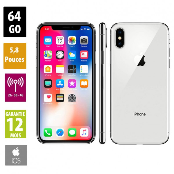 Apple iPhone X - 64GB - Silver - Grade A+
