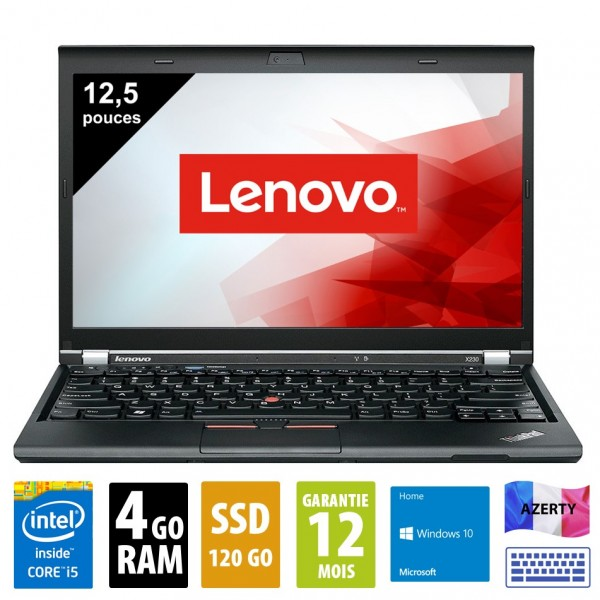 Lenovo Thinkpad X230 - 12,5 pouces - Core i5 3320M@2,60GHz - 4Go RAM - 120Go SSD - WXGA (1366x768)  Windows 10 Home