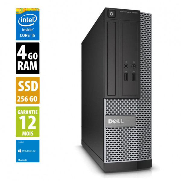 Dell Optiplex 3020 SFF - Core i5-4590@3.30GHz - 4Go RAM - 256Go SSD - Win 10 Home