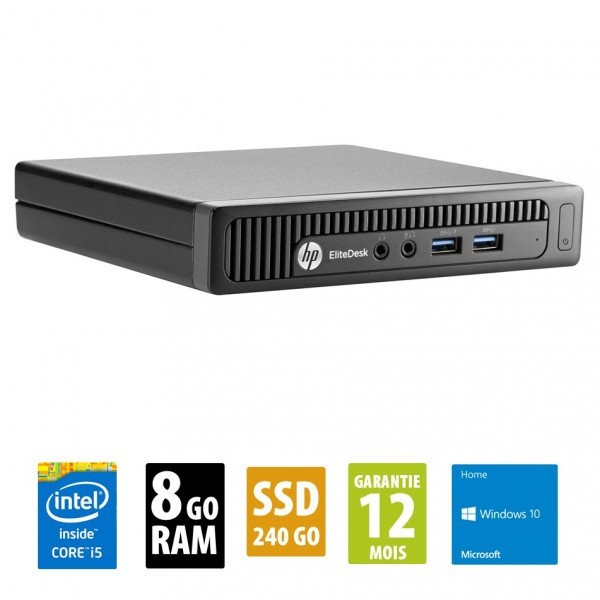 HP EliteDesk 800 G1 USDT - Core i5-4590T@2.00GHz - 8Go RAM - 240Go SSD - Windows 10 Home