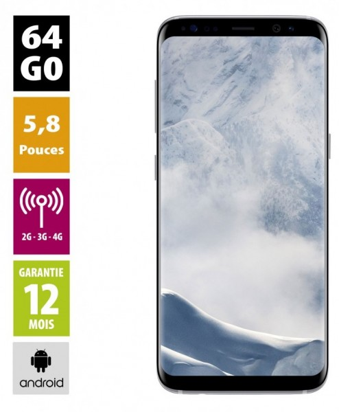 Samsung Galaxy S8 argent polaire 64GB reconditionné - Grade A+