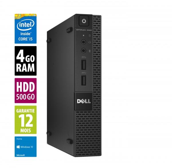 Dell Optiplex 3020 USFF - Core i5-4590@3.30GHz - 4Go RAM - 500Go HDD - DVD/RW - Windows 10 Home