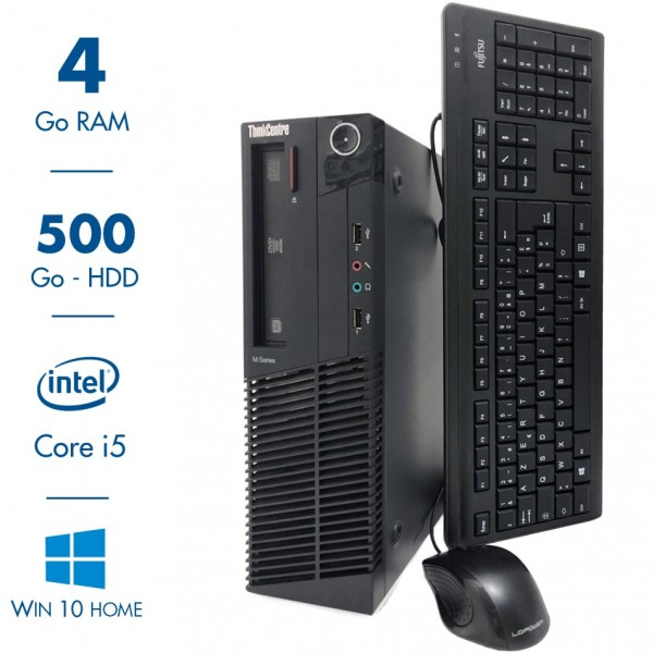 Lenovo ThinkCentre M92P - Intel Core i5 3470@3.20GHz - 4 Go RAM - 500Go - Windows 10 Home