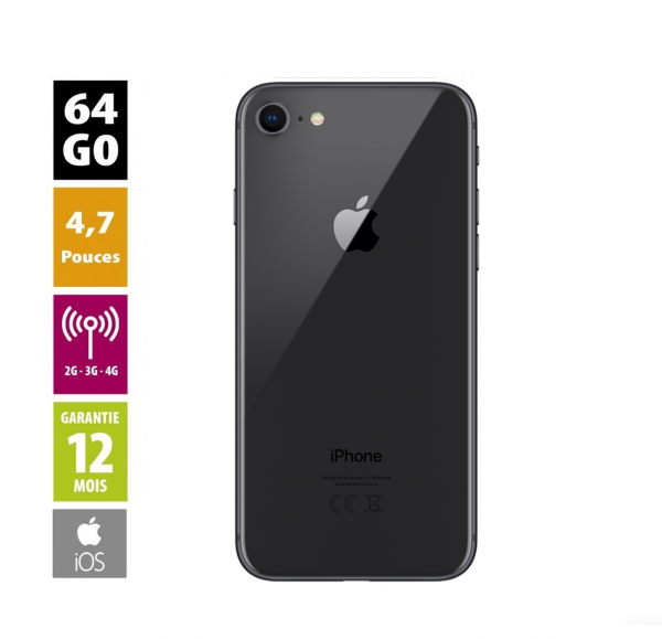 Apple iPhone 8 - 64 Go - couleur Space Gray - reconditionné - Grade A