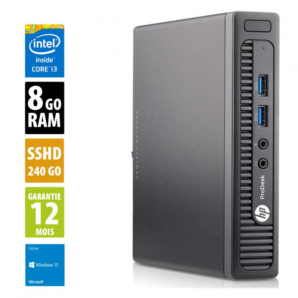 HP ProDesk 400 G1 USDT - Core i3-4160T@3.10GHz - 8Go RAM - 500Go SSHD - Windows 10 Home
