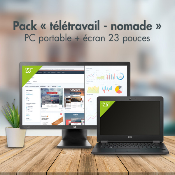 PACK PC portable 12'' + écran 23'' + station d'accueil