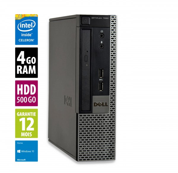 Dell Optiplex 7020 USFF - Celeron G1820@2.70GHz - 4Go RAM - 500Go HDD - DVD-RW - Windows 10 Home