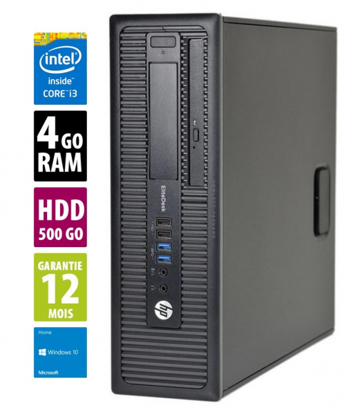 HP ProDesk 600 G1 SFF - Core i3-4130@3,40GHz - 4Go RAM - 500Go HDD - DVD-RW - Windows 10 Home