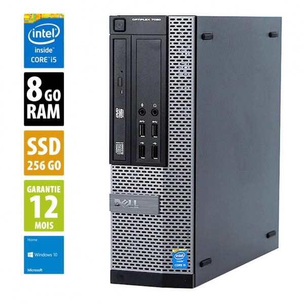 Dell Optiplex 7020 SFF - Core i5-4590@3.30GHz - 8Go RAM - 256Go SSD - DVD-R - Windows 10 Home