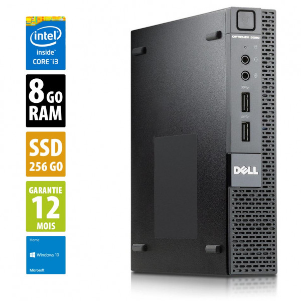 Dell Optiplex 3020M USFF - Core i3-4150T@3.00GHz - 8Go RAM - 256Go SSD - Windows 10 Home