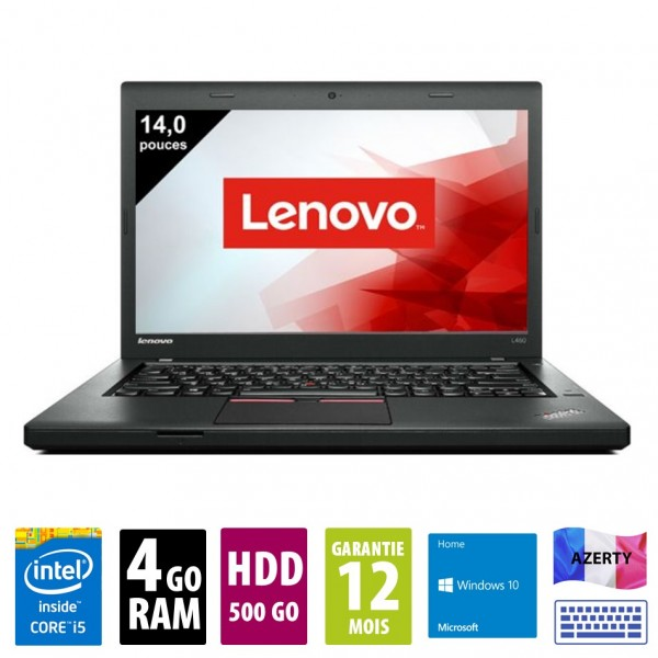 Lenovo ThinkPad L460- 14 pouces - Core i5-6300U@2.40 GHz - 4Go RAM - 500Go HDD - WXGA (1366x768)  - Windows 10 Home