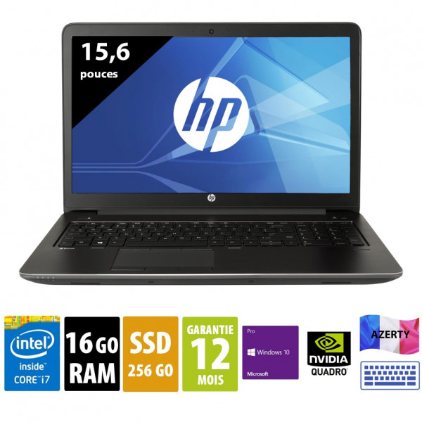 HP ZBook 15 G3 - 15,6 pouces - Core i7-6820HQ@2.70GHz - 16Go RAM - 256Go SSD - Quadro M1000M - 1920x1080 (FHD) - Windows 10 Pro