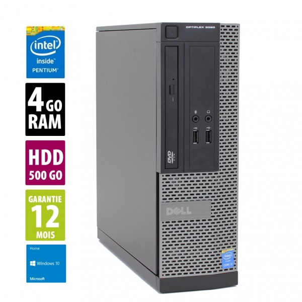 Dell Optiplex 3020 SFF - Pentium G3220 @3.00GHz - 4Go RAM - 500Go HDD - DVD-RW - Windows 10 Home