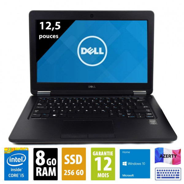 Dell Latitude E7250 - 12,5 pouces - Core i5-5300U@ 2.30GHz - 8Go RAM - 256Go SSD - WXGA (1366x768) - Windows10 Home