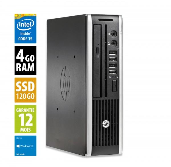 HP Compaq Elite 8300 USFF - Core i5-3570s@3,10GHz - 4Go RAM - 120Go SSD - DVD-RW - Windows 10 Home