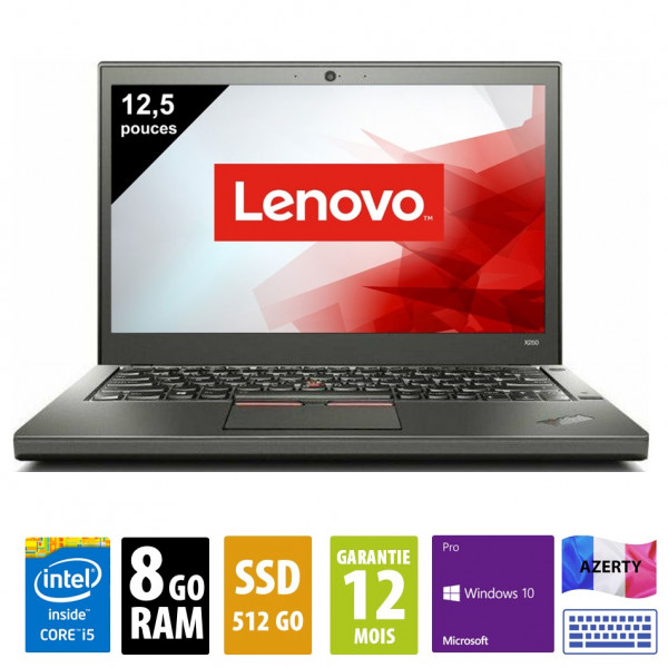 Lenovo ThinkPad X250 - 12,5 pouces - Core i5-5300U@2.30GHz - 8Go RAM - 512Go SSD - WXGA (1366x768) - Windows 10 Pro