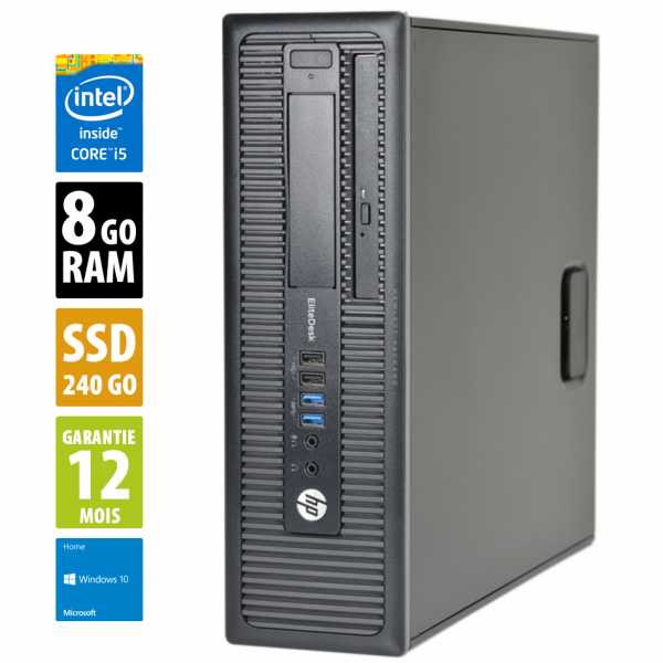 HP EliteDesk 800 G1 SFF - Core i5-4570@3,20GHz - 8Go RAM - 240Go SSD - DVD-RW - Windows 10 Home