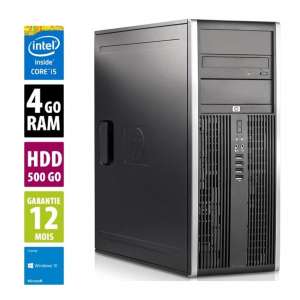 HP Compaq Elite 8200 CMT - Core i5-2500@3.30GHz - 4Go RAM - 500Go HDD - DVD-RW - Windows 10 Home
