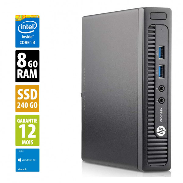 HP ProDesk 400 G1 DM USDT- Core i3-4160T @3.10GHz - 8Go RAM - 240Go SSD - Windows 10 Home