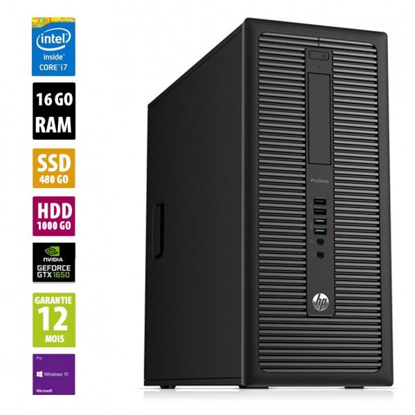 HP ProDesk 600 G1 TWR - Core i7-4770@3.40GHz - 16Go RAM - 480Go SSD + 1000Go HDD - Nvidia Geforce GTX 1650 - Windows 10 Pro