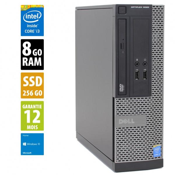 Dell Optiplex 3020 - Core i3-4130@3.40GHz - 8Go RAM - 256Go SSD - DVD-RW - Windows 10 Home