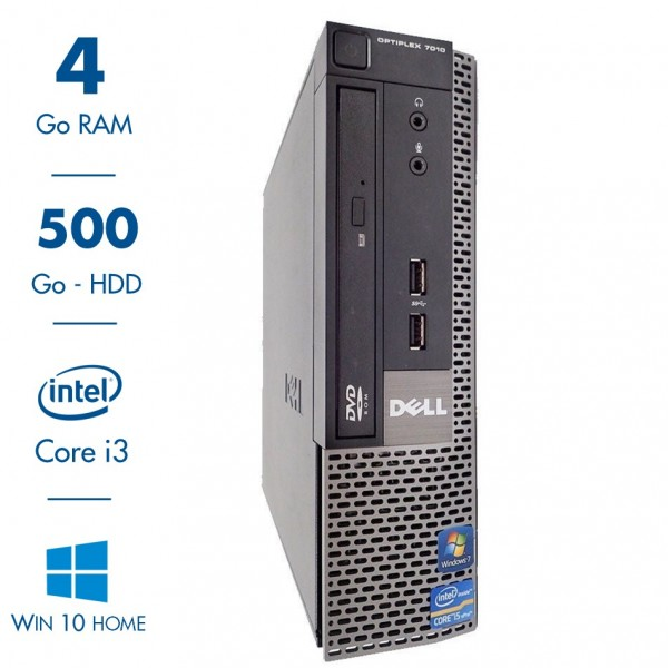 Dell Optiplex 7010 USFF - core i3-3240@3.40GHz - 4Go RAM - 500Go HDD - DVD/R - Windows 10 Home