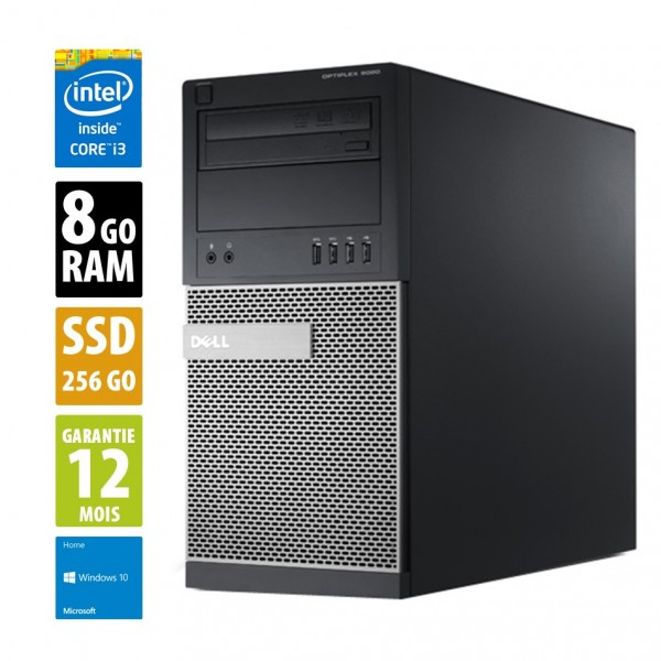 Dell Optiplex 7020 MT - Core i3-4160@3.60GHz - 8Go RAM - 256 SSD - DVD-RW - Windows 10 Home
