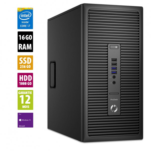 HP ProDesk 600 G2 TWR - i7-6700 CPU@3.40GHz - 16Go RAM - 1To HDD + 256 SSD - Windows 10 Pro