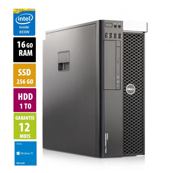 Precision-T3600 - Xeon-E5-1650-0@3.20GHz - 16Go RAM -  256Go SSD -1000 HDD - Windows 10 Home
