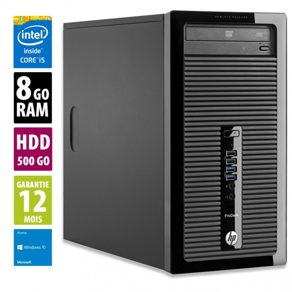 HP ProDesk 400 G2 MT - Core i5-4590S@3.00GHz - 8Go RAM - 500Go HDD - Windows 10 Home