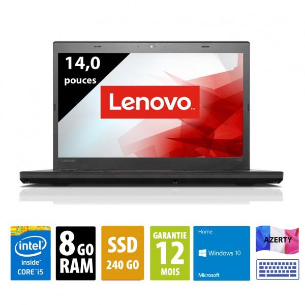 Lenovo ThinkPad T460 - 14 pouces - i5-6200U@2.30GHz- 8Go RAM - 240Go SSD - FHD (1920x1080) - Windows 10 Home