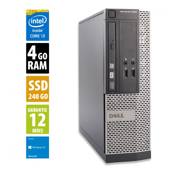 Dell Optiplex 3020 SFF - Core i3-4160@3.60GHz - 4Go RAM - 240Go SSD - DVD-RW - Windows 10 Home