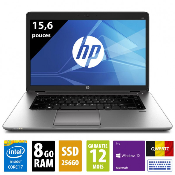 HP Elitebook 850 G1 - 15,6 pouces - Clavier QWERTZ - Core i7-4600U@2.10GHz - 8Go RAM - 256Go SSD - WXGA (1366x768) - Windows 10 Pro