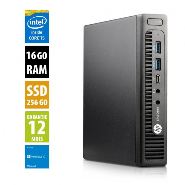 HP EliteDesk 800 G2 USFF - Core i5-6500T@2,50GHz - 16Go RAM - 256Go SSD - Windows 10 Home