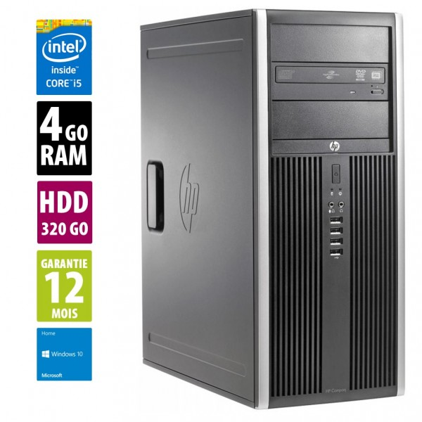 HP Compaq Elite 8200 CMT - Core i5-2500@3.30GHz - 4Go RAM - 320Go HDD - DVD-RW - Windows 10 Home