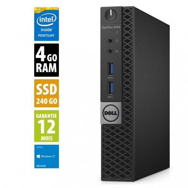 Dell Optiplex 3040 USFF - Pentium CPU G4400T@2.90GHz - 4Go RAM - 240Go SSD - Windows 10 Home